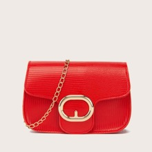 Lizard Embossed Chain Crossbody Bag