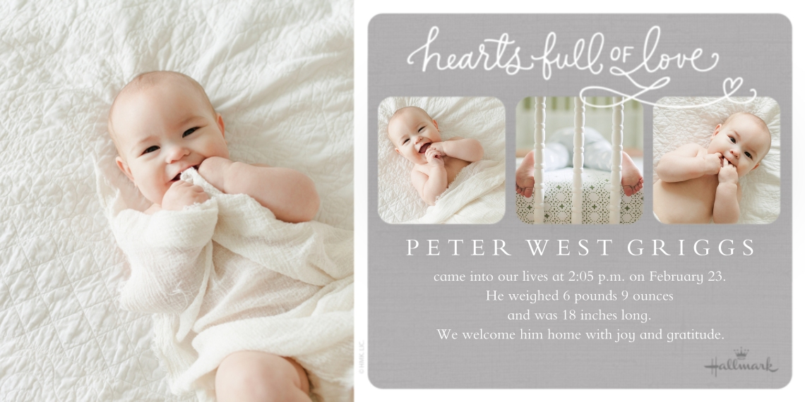 Baby Announcements Flat Glossy Photo Paper Cards with Envelopes, 4x8, Card & Stationery -Hearts Full of Love - Gray