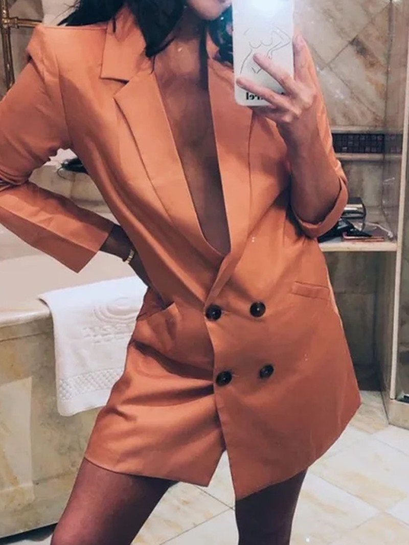 Ericdress Plain Double-Breasted Fashion Office Lady Blazer