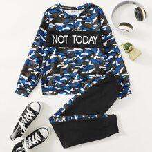 Boys Letter Graphic Camo Pullover & Contrast Sideseam Sweatpants Set