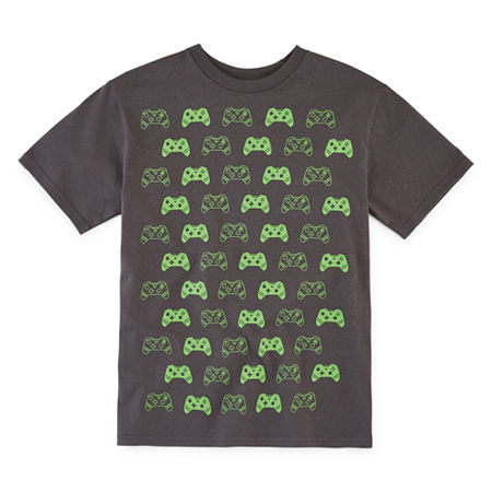 Video Game Controllers Little & Big Boys Crew Neck Short Sleeve Graphic T-Shirt, Xx-small (4-5) , Black