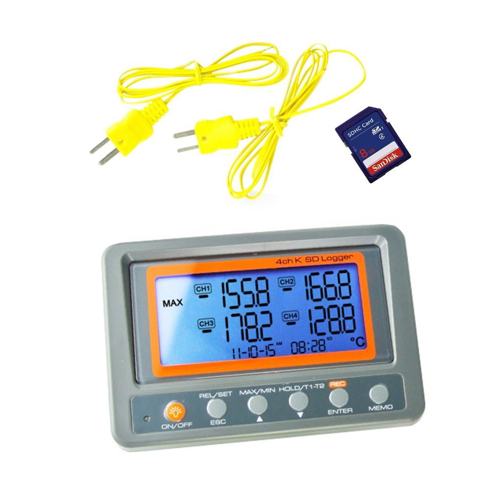 4 Channels -328 ~ 2498 Degree C / F K-type Thermocouple Thermometer SD Card 8GB Temperature Wallmount Recorder Thermomet