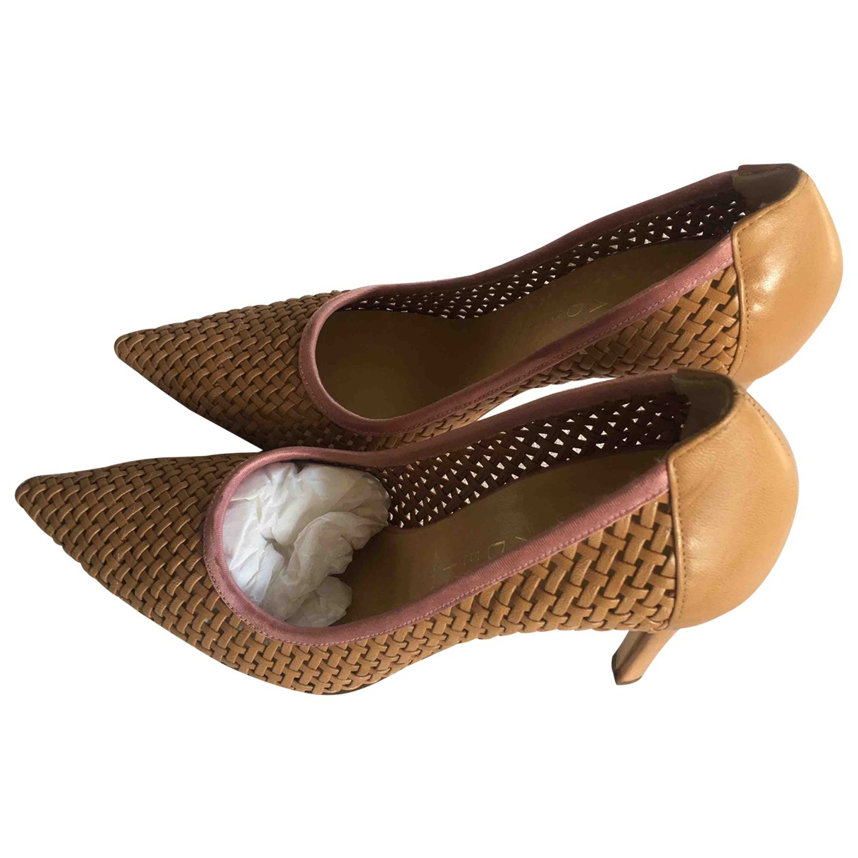 Casadei N Beige Leather Heels for Women 37 EU