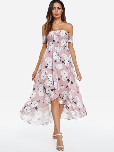Yoins Pink Random Floral Print Bateau Short Sleeves Midi Dress