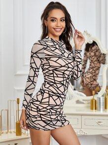 Yilibasha Mock-neck Geo Mesh Dress