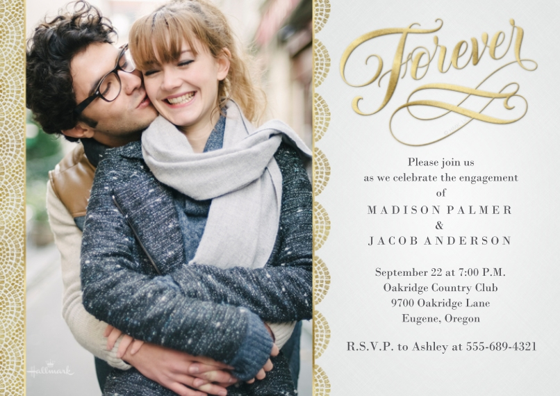 Anniversary Invitations 5x7 Cards, Standard Cardstock 85lb, Card & Stationery -Gold Scallop Forever