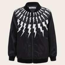Boys Lightning Print Bomber Jacket
