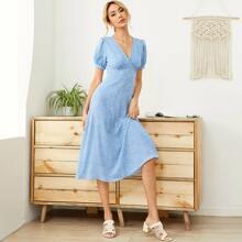 Allover Heart Print Button Front Puff Sleeve Dress