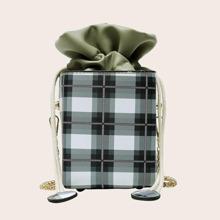 Plaid Pattern Bucket Bag With Drawstring