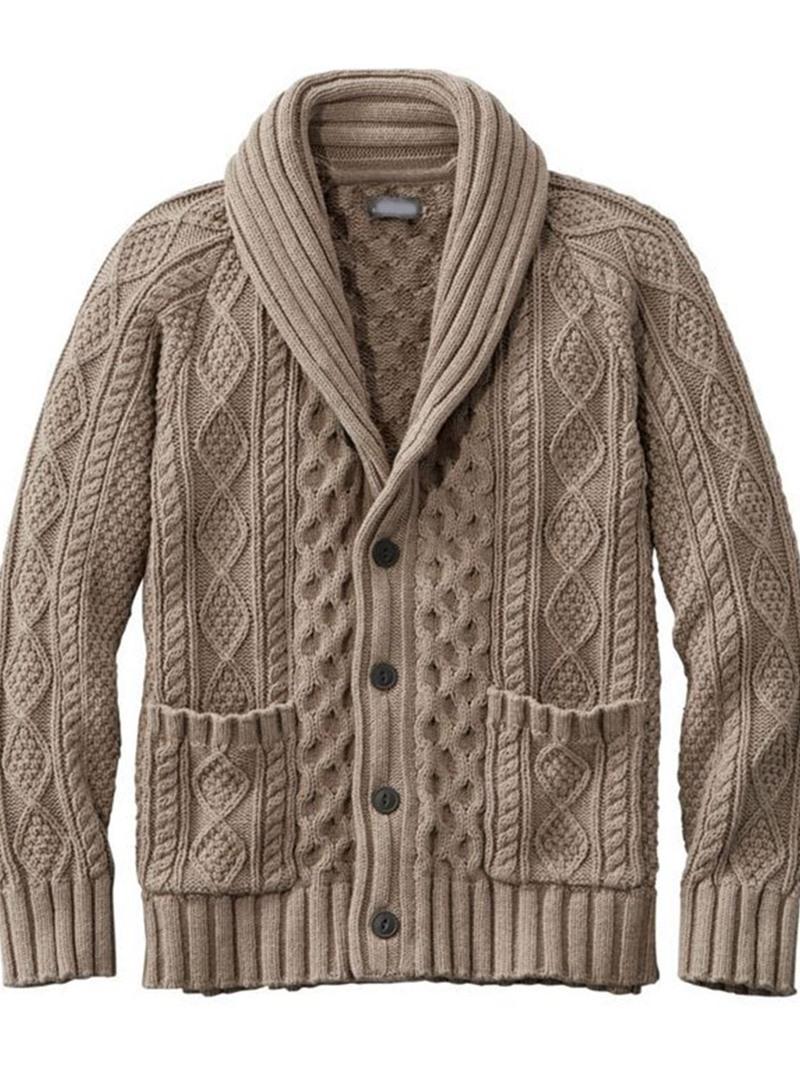 Ericdress Pocket Standard Lapel Single-Breasted Men's Coat Slim Sweater