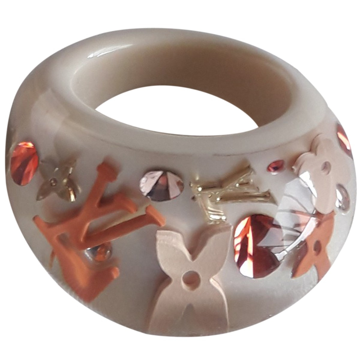 Louis Vuitton Inclusion Ring in  Weiss Kunststoff