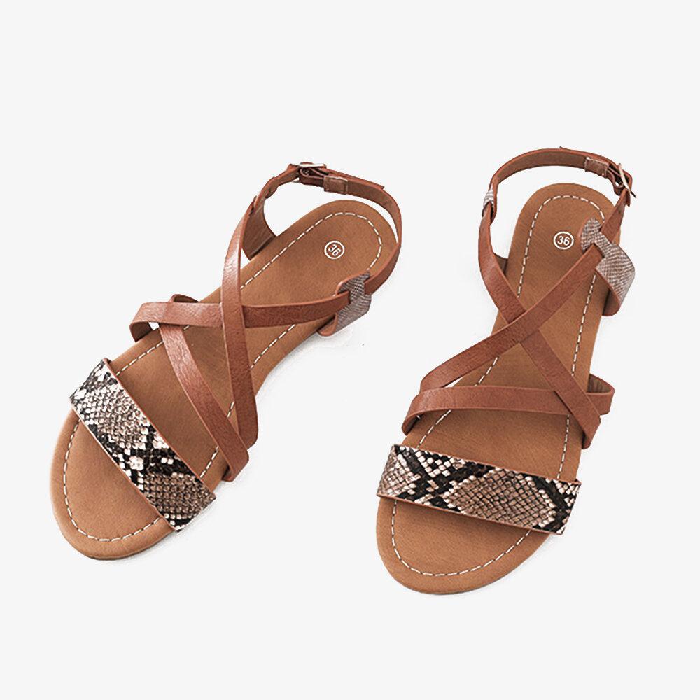 Women Snakeskin Prin Buckle Chic Casual Flat Sandals