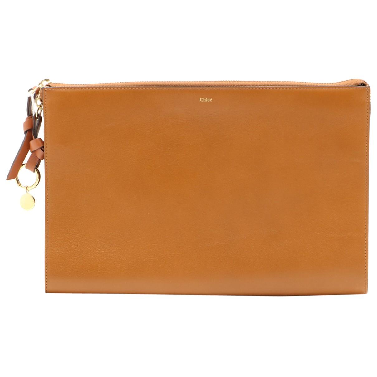 Chloe - Pochette   pour femme en cuir - marron
