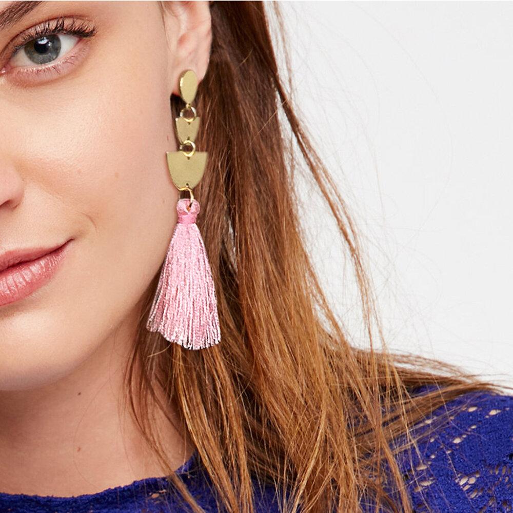 Bohemia Semicircle Ear Stud Multi-Color Long Tassel Women Pendant Earrings