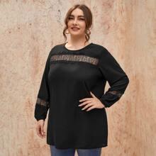 Blusas Extra Grandes Encaje en contraste A cuadros Casual