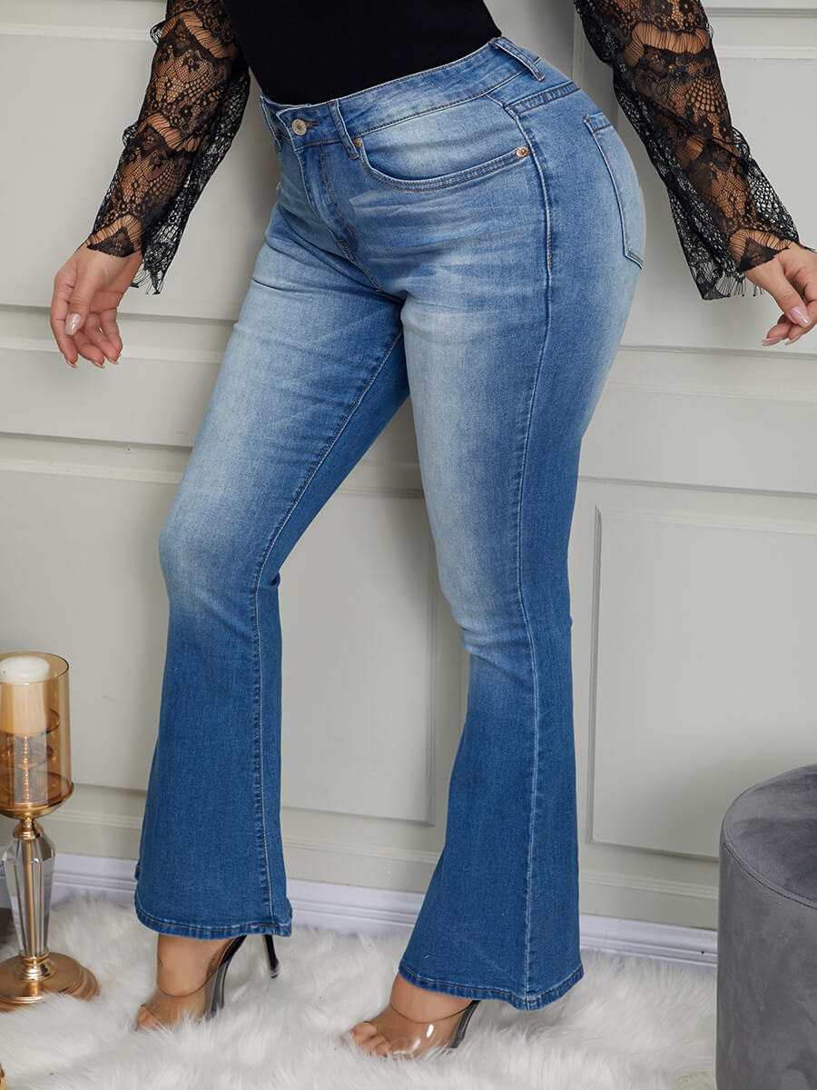 LW Lovely Casual Flared Design Blue Jeans
