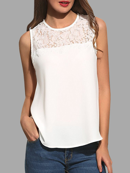 Yoins White Casual Lace Insert Tank Top