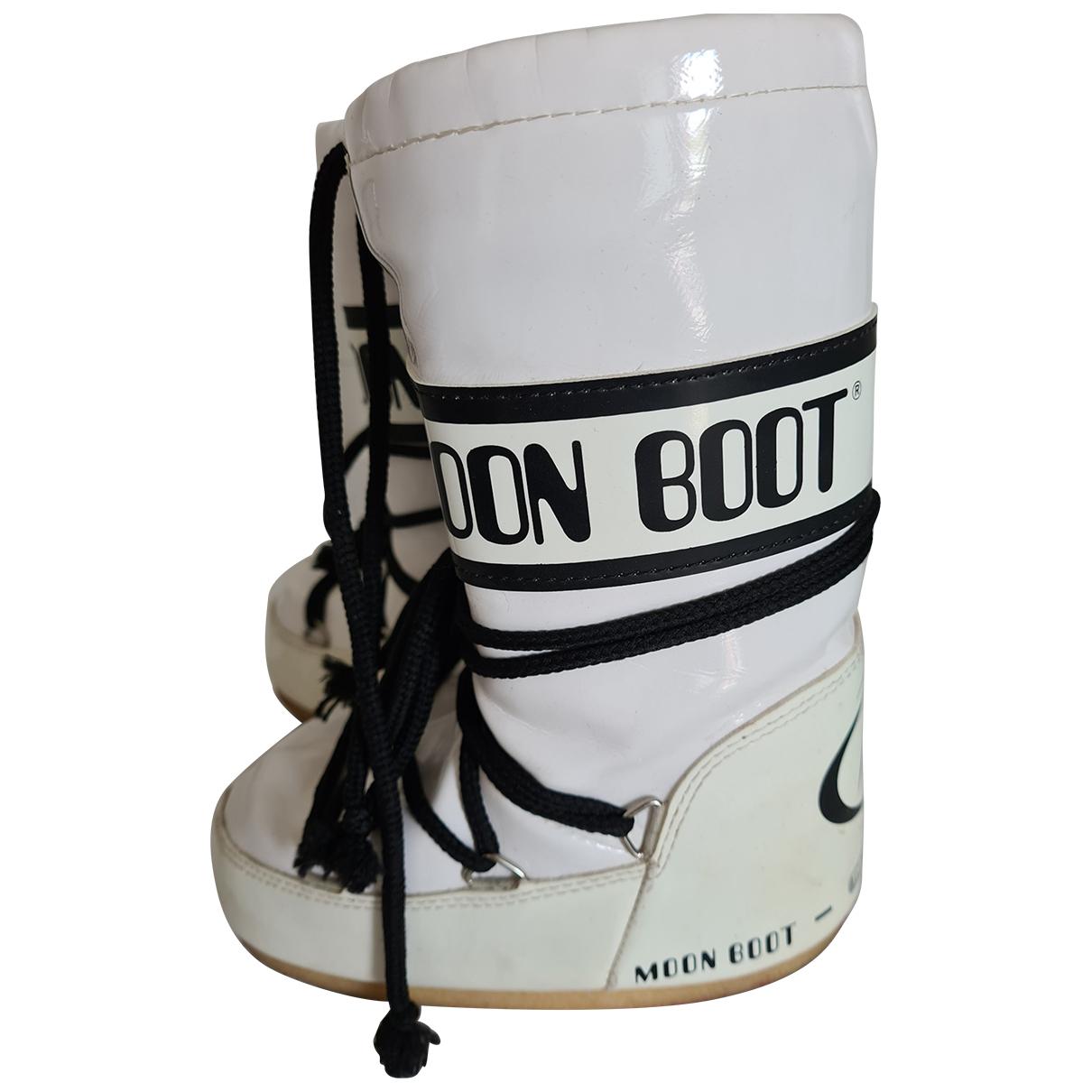 Moon Boot - Bottes.Bottines   pour enfant en cuir verni - blanc