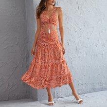 Cami Kleid mit Bluemchen Muster und Fransen