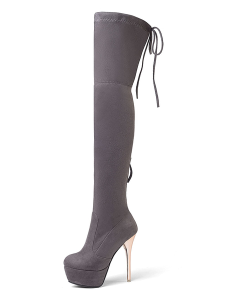 Milanoo Platform Thigh High Boots Womens Elastic Fabric Almond Toe Stiletto Heel Over The Knee Boots