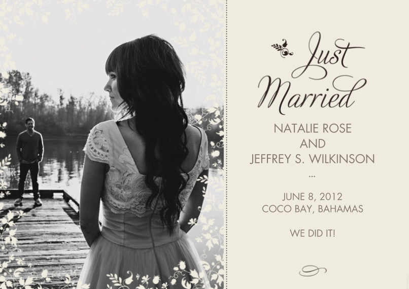 Just Married 5x7 Cards, Standard Cardstock 85lb, Card & Stationery -Just Married