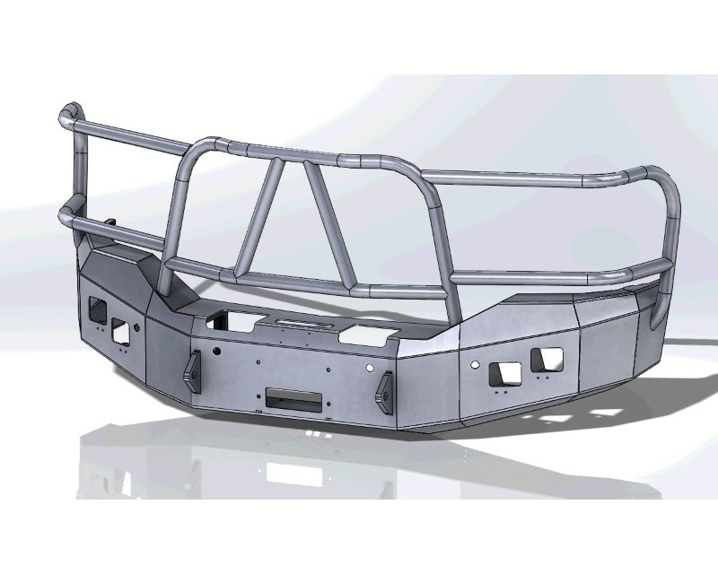 Hammerhead Armor 600-56-0487 Sierra Front Winch Bumper Full Brushguard For 16-18 Sierra 1500 Black Steel X-Series