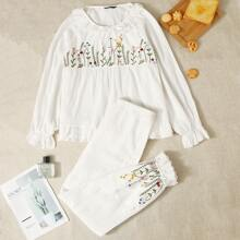 Ruffle Trim Floral Embroidered Smock Top & Pants PJ Set