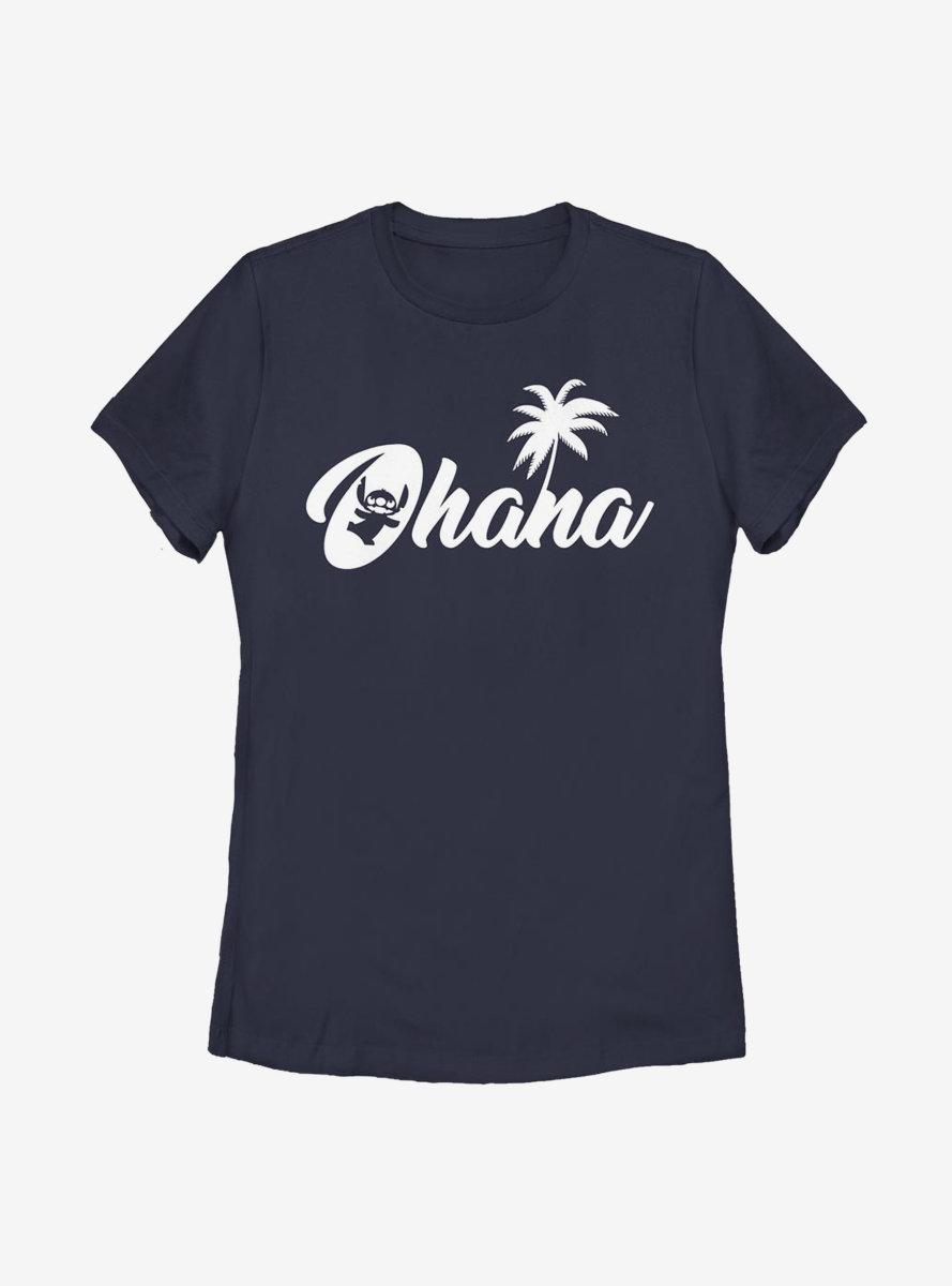 Disney Lilo And Stitch Silhouette Ohana Womens T-Shirt