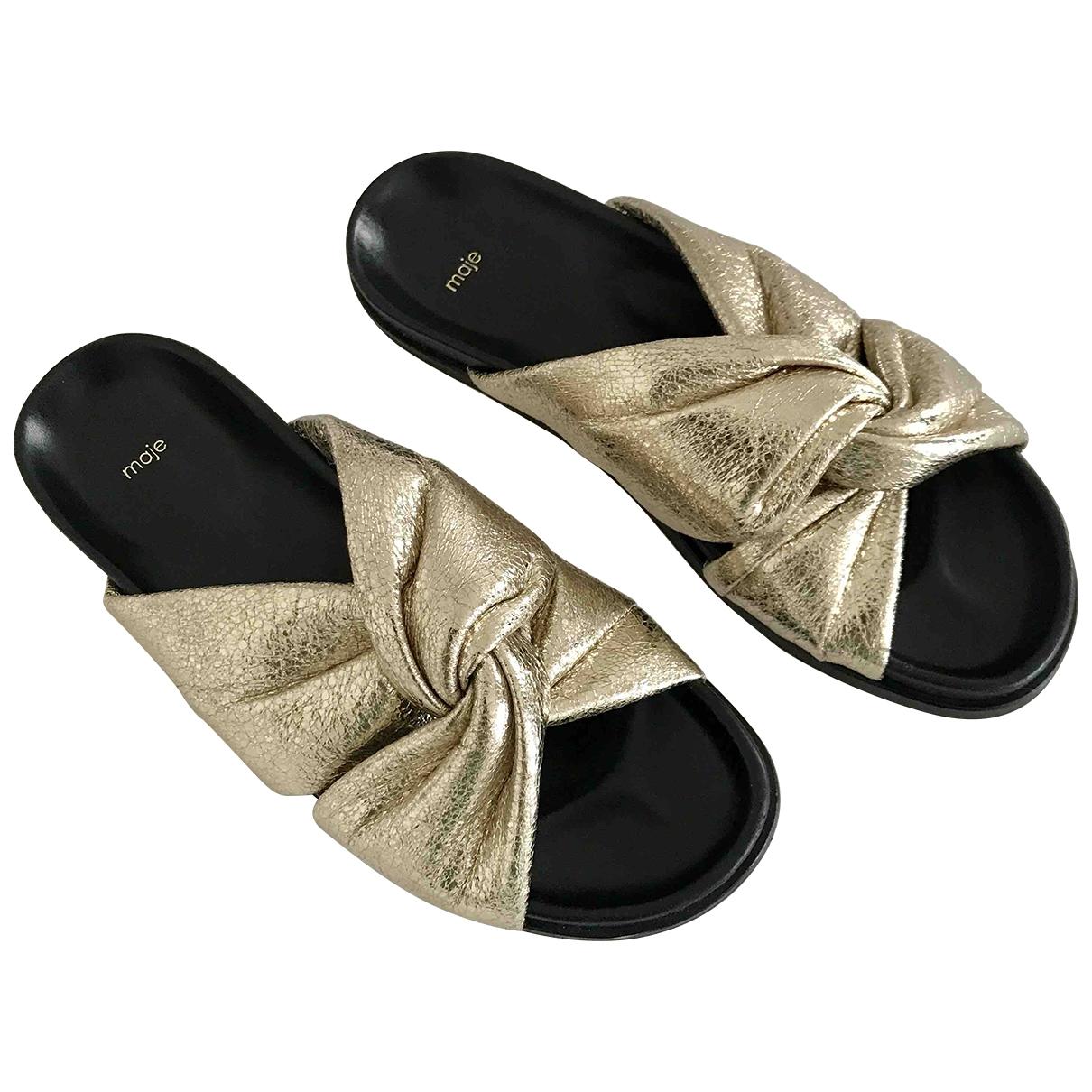Maje - Sandales   pour femme en cuir - dore