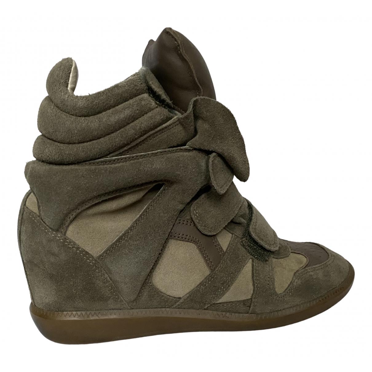 Isabel Marant Bayley Sneakers in  Khaki Veloursleder