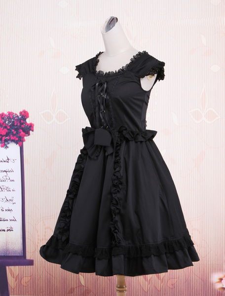 Milanoo Classic Black Short Sleeves Bow Decorated Cotton Lolita One-Piece