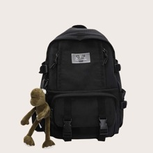 Men Letter Patch Backpack With Bag Charm