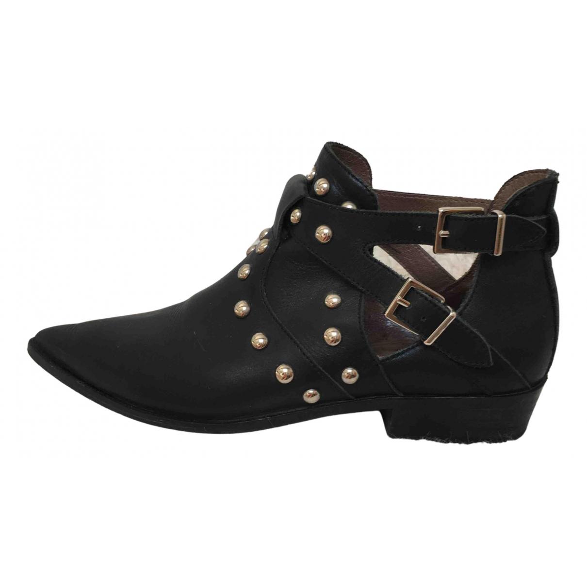 Ikks - Boots   pour femme en cuir - noir