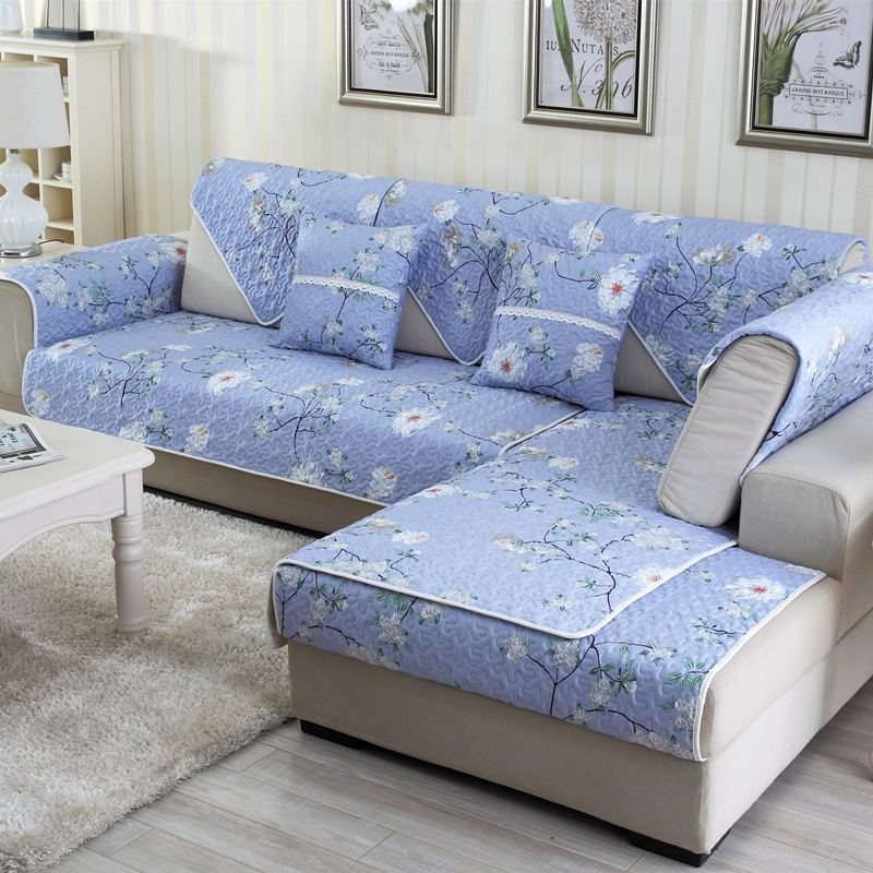 Soft Country Style White Flowers Pattern Washable Cushion Slip Resistant Four Seasons Sofa Cover