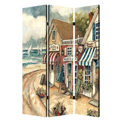 BM205404 Foldable 3 Panel Canvas Screen with Seaside Town Print
