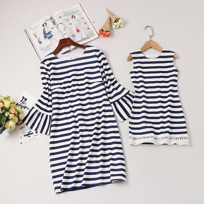 Mommy and Me Matching Outfit Dress Striped Casual Style Dress