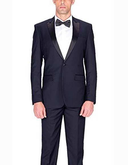 Men's Navy Blue 1 Button Single Tuxedo Slim Fit Suit With Satin Peak