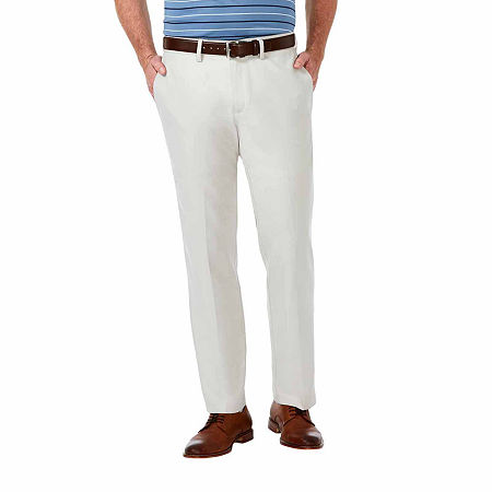 Haggar Cool 18 Pro Straight Fit Flat Front Pants, 34 30, White