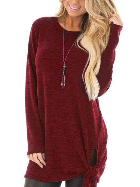 Yoins Burgundy T-shirts With Side Slits and Tie Details