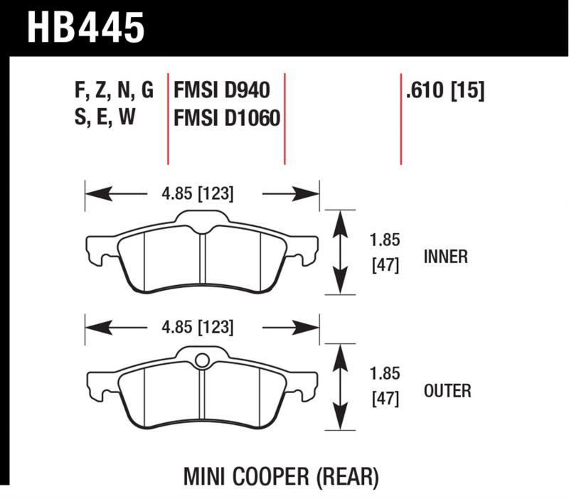 Hawk Performance HB445E.610 Disc Brake Pad Mini Cooper S Rear 2002-2009