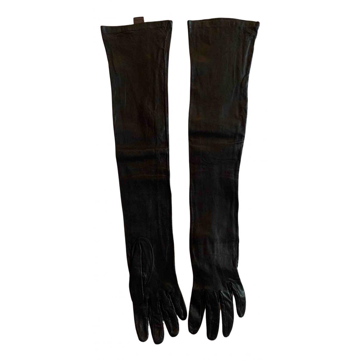 Roberto Cavalli \N Handschuhe in  Schwarz Leder