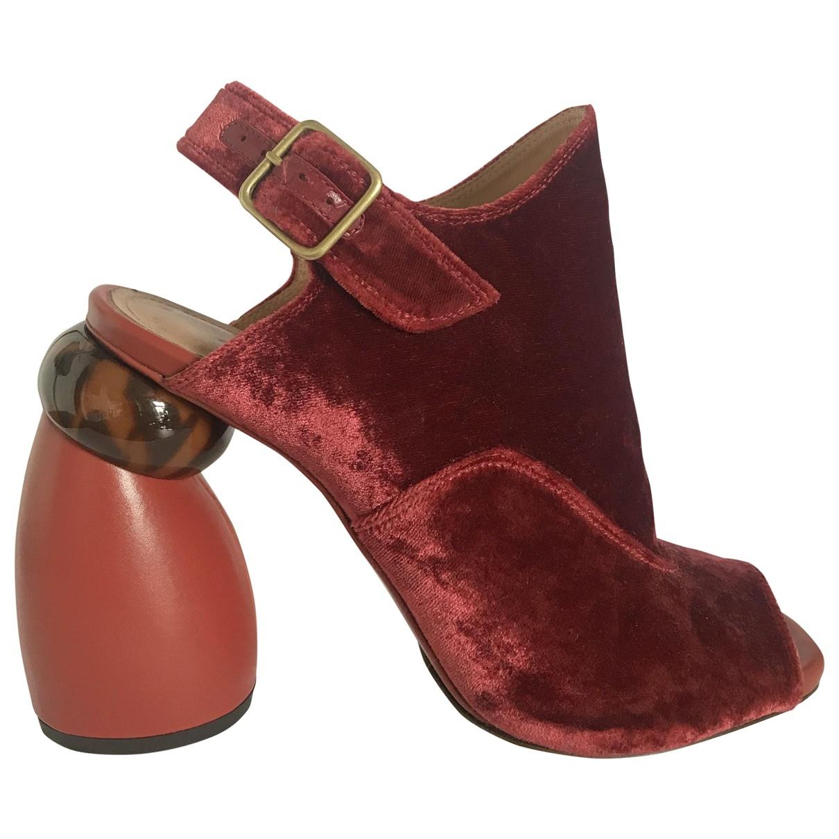 Dries Van Noten \N Red Velvet Sandals for Women 38.5 EU