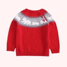 Toddler Boys Polar Bear Pattern Button Detail Sweater