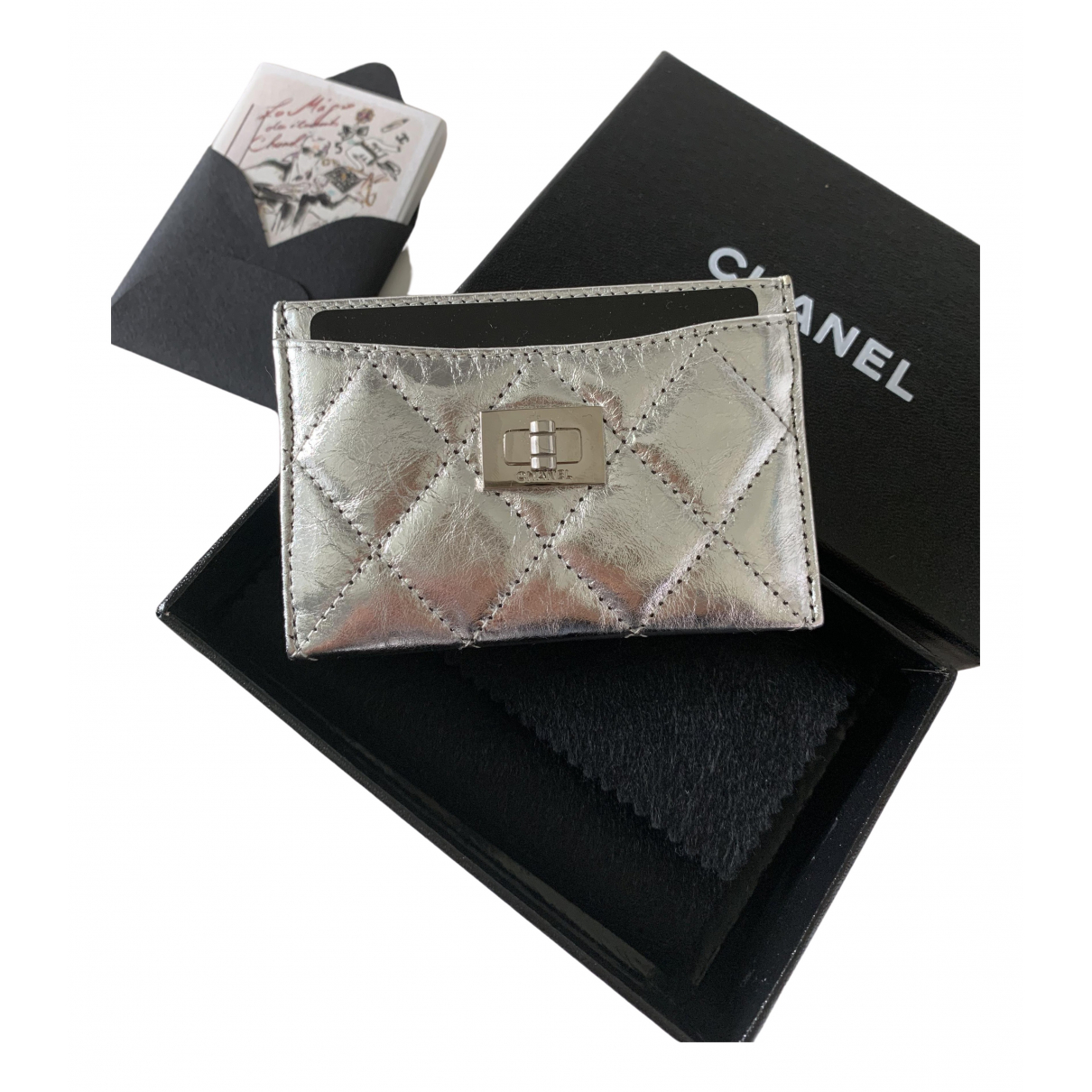 Chanel Boy Silver Leather Purses, wallet & cases for Women \N