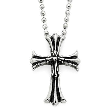 Mens Oxidized Stainless Steel Cross Pendant Necklace, One Size , No Color Family