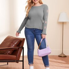 Plus Cut Out Ruffle Hem Solid Sweater