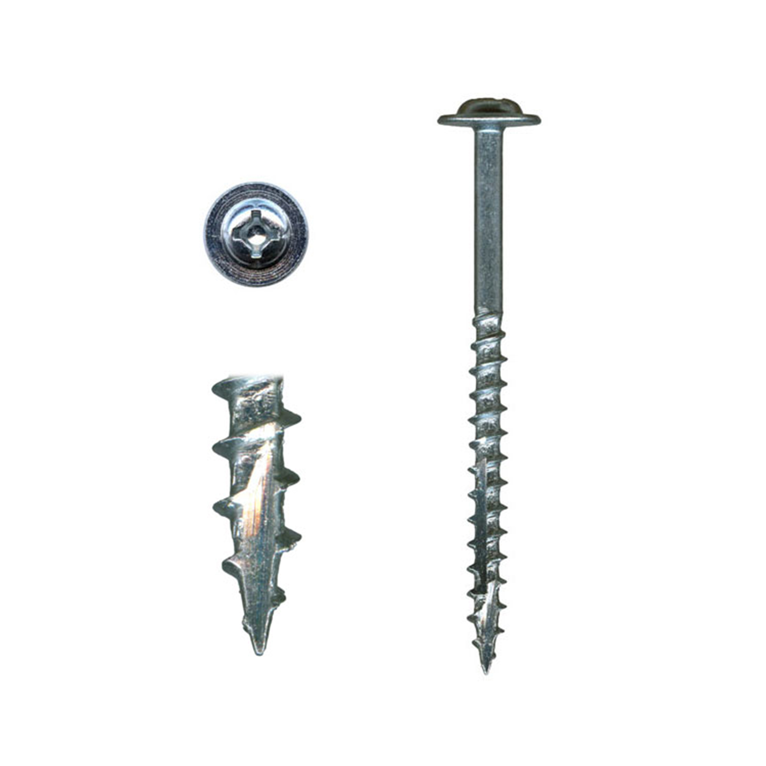 10 x 2-1/2 Cabinet Installation Screws, Washer Head, Combo Drive, Zinc with White Painted, 100-Piece