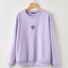 Sun Embroidery Front Drop Shoulder Sweatshirt