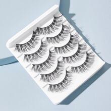 Natuerliche 3D dichte kuenstliche Wimpern 5 Paare