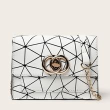 Geometric Pattern Flap Chain Bag